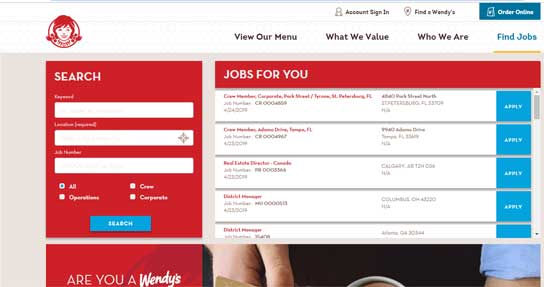 Wendy's Application Online