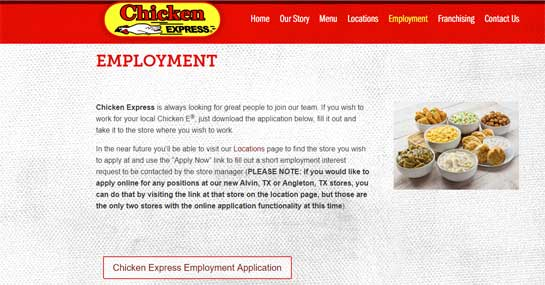 Chicken Express Application Online