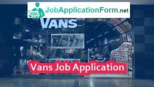 Vans Job Application Form