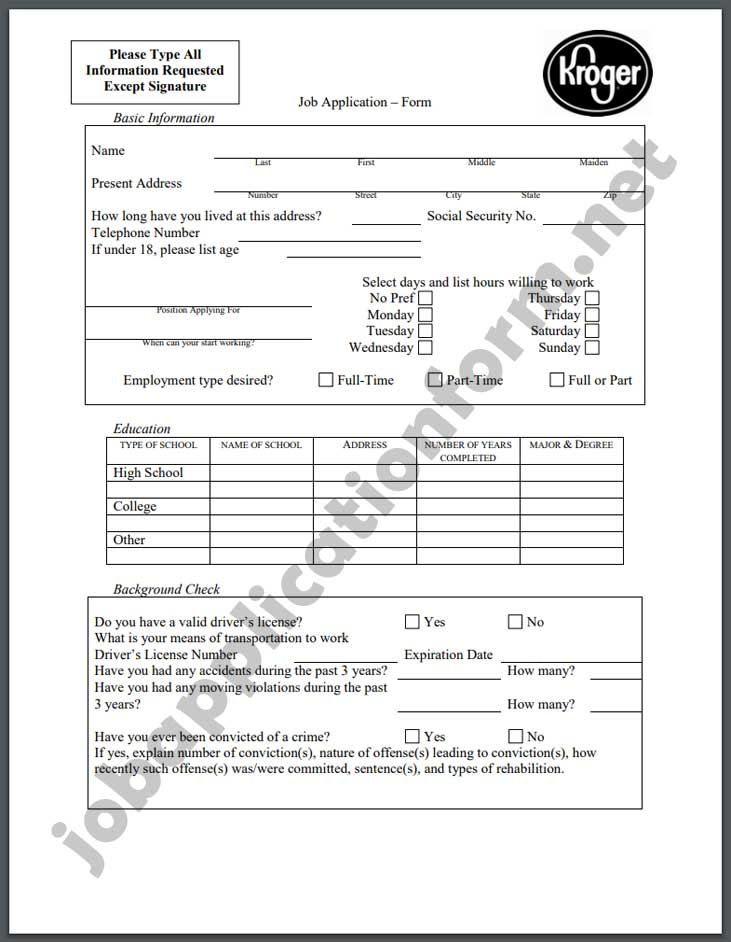 Kroger Application Form PDF