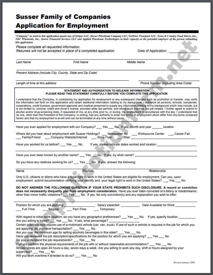 Stripes Application Form PDF