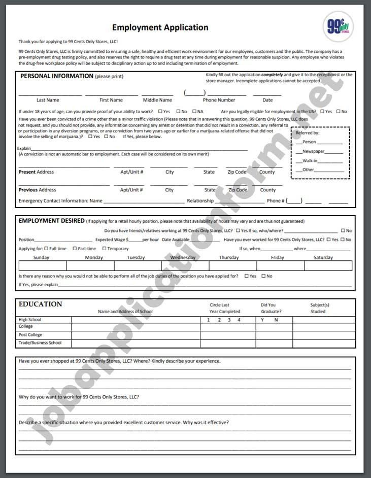99 Cents Only Stores Job Application Form