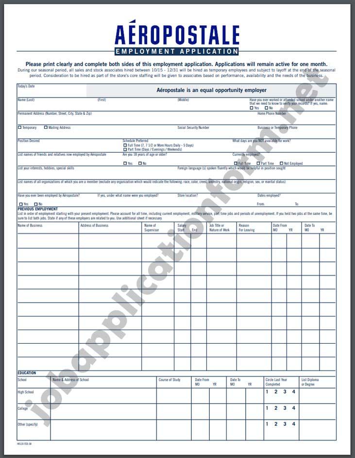 Aéropostale Application Form PDF