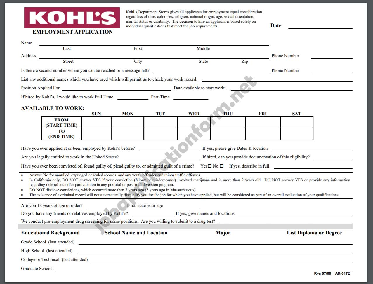 Kohl's Job Application Form pdf