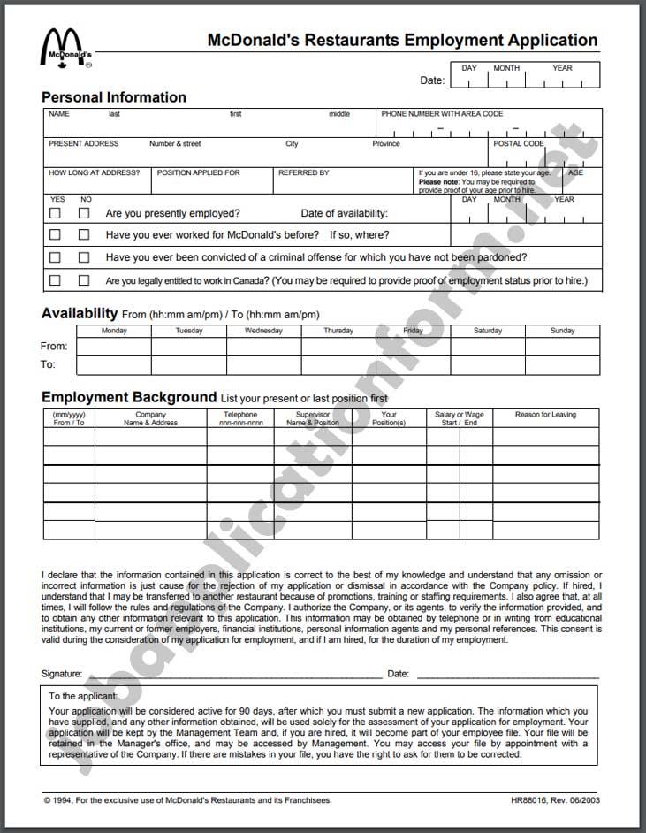 mcdonalds-application-form-pdf Online Job Application Form For Mcdonalds on apply online, form.pdf, print forms, fast food,