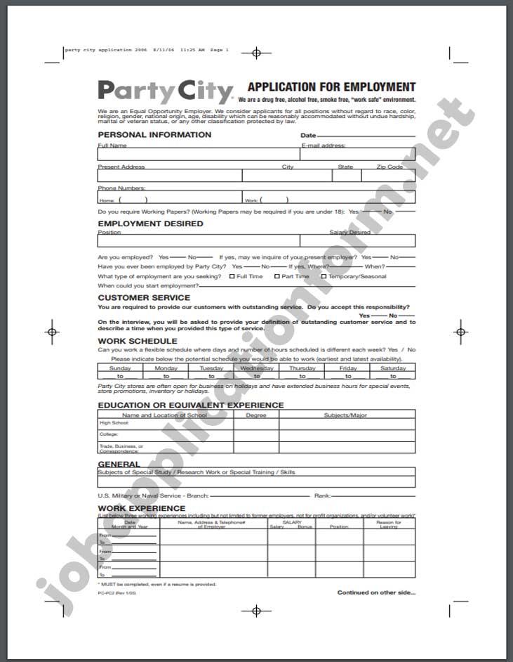 Party City Job Application Form