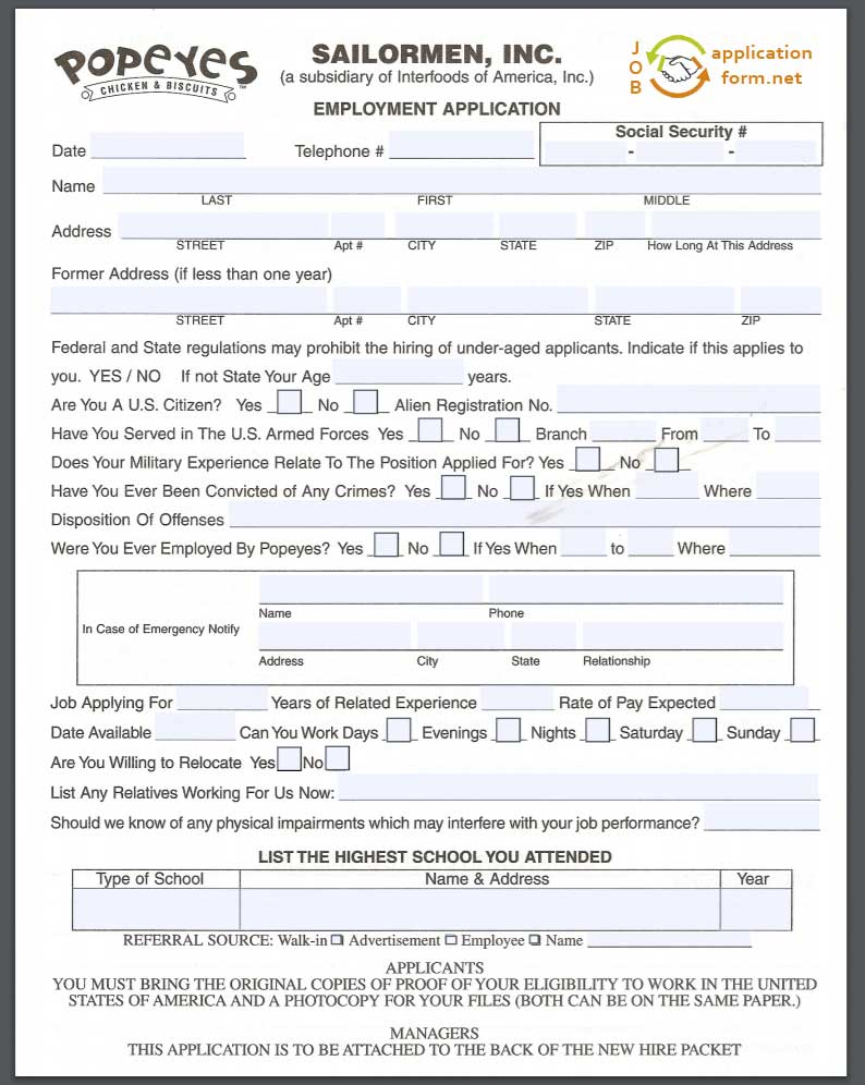 popeyes-job-application-pdf Job Application Form For Safeway on part time, free generic, blank generic,