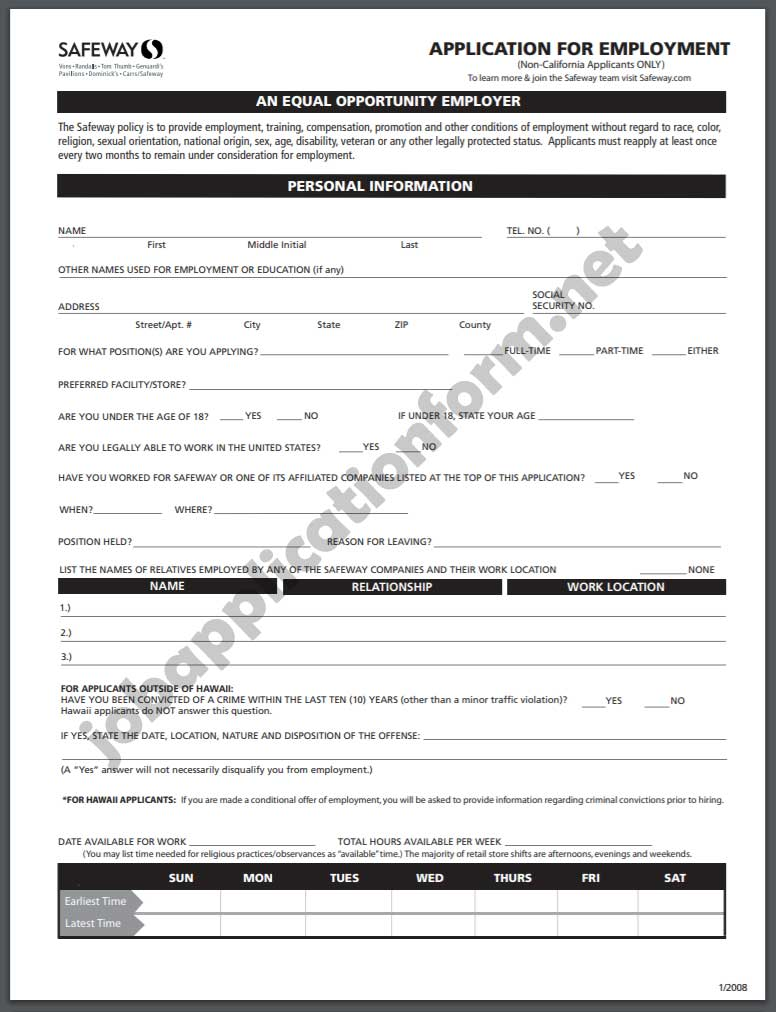 Safeway Job Application Form