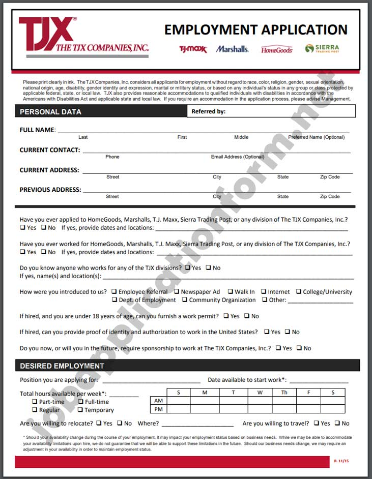 TJX Application Form PDF