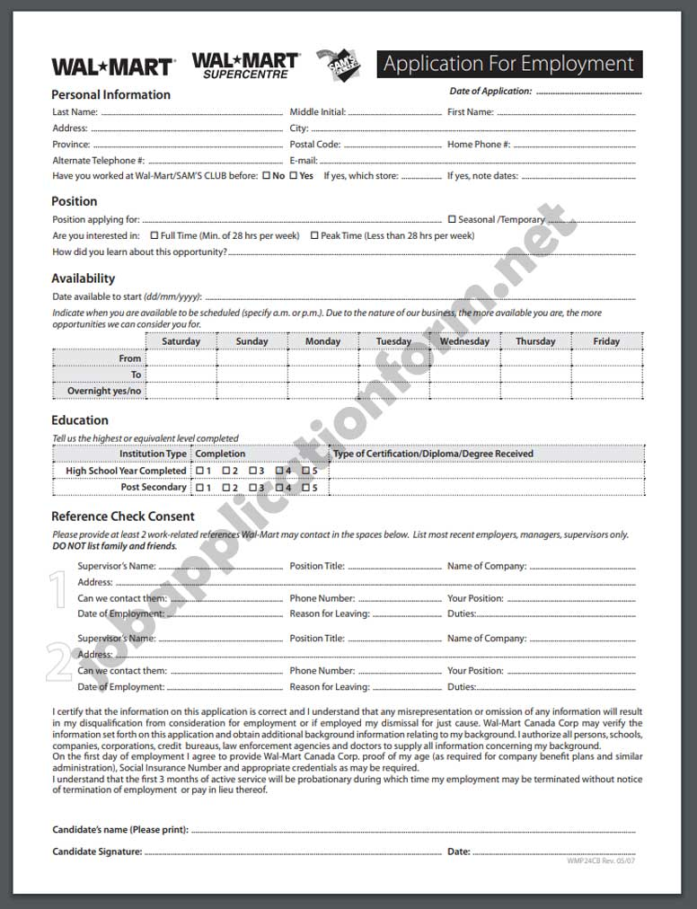 Walmart Job Application Form pdf