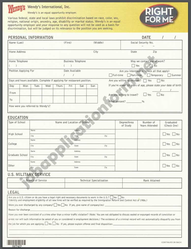 Wendy's Job Application Form