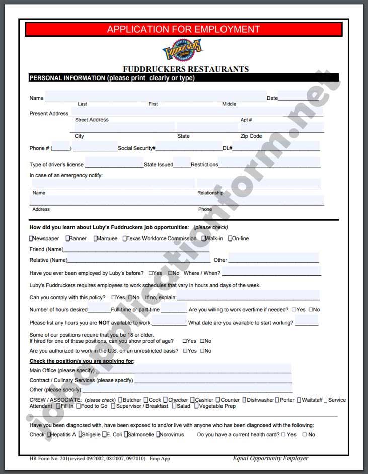 Fuddruckers Application Form PDF