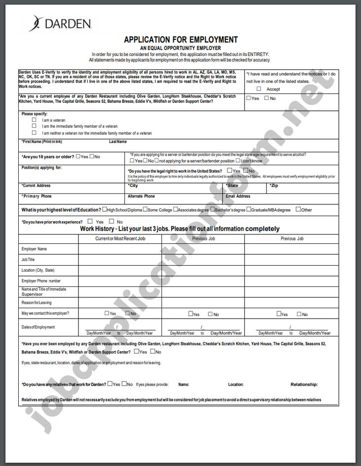 Yard House Application Form PDF