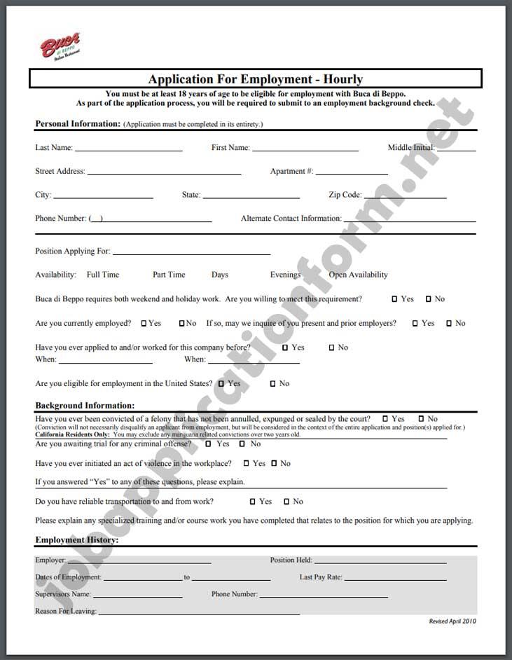 Buca di Beppo Application Form PDF
