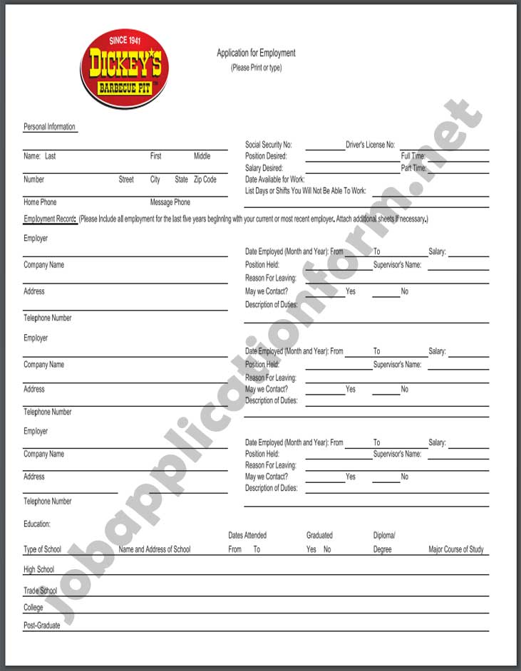 Dickey's Barbecue Pit Application Form PDF