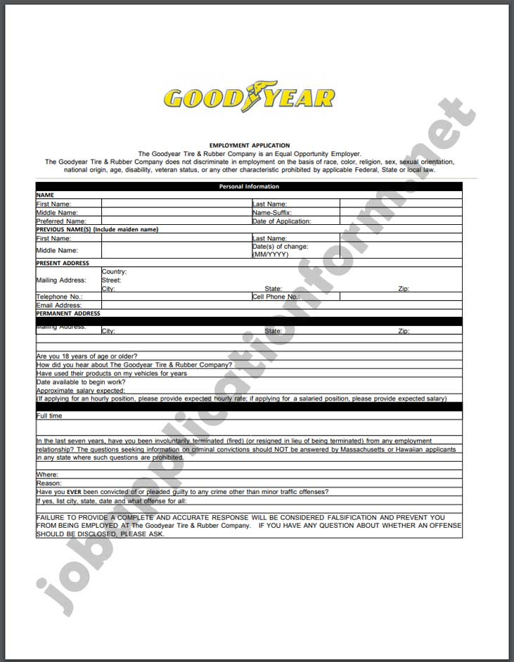 Goodyear Application Form PDF