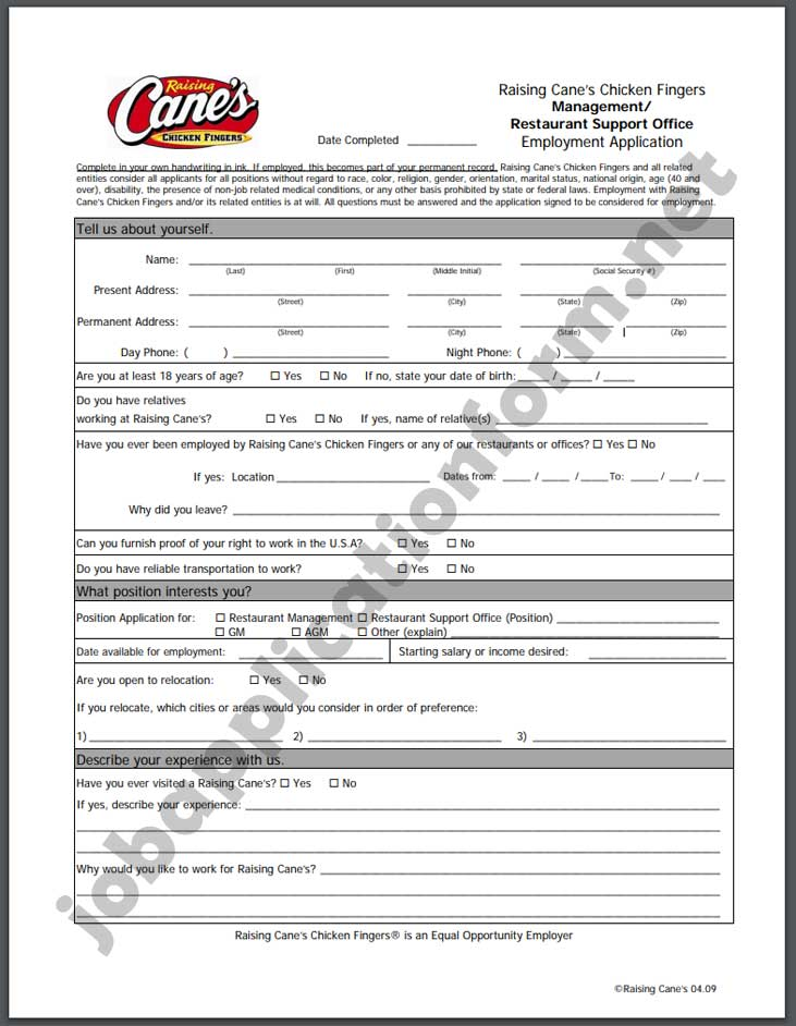 Raising Cane's Chicken Fingers Application Form PDF