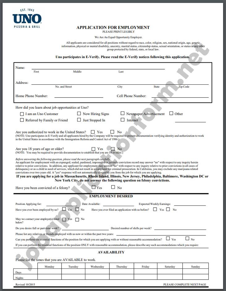 Uno Pizzeria & Grill Application Form PDF