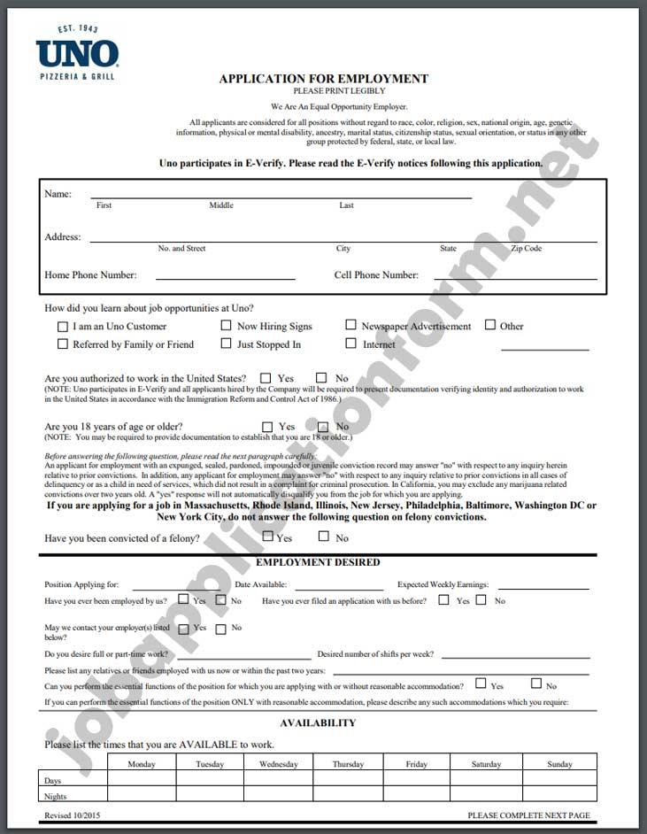 Uno Pizzeria & Grill Application Form PDF