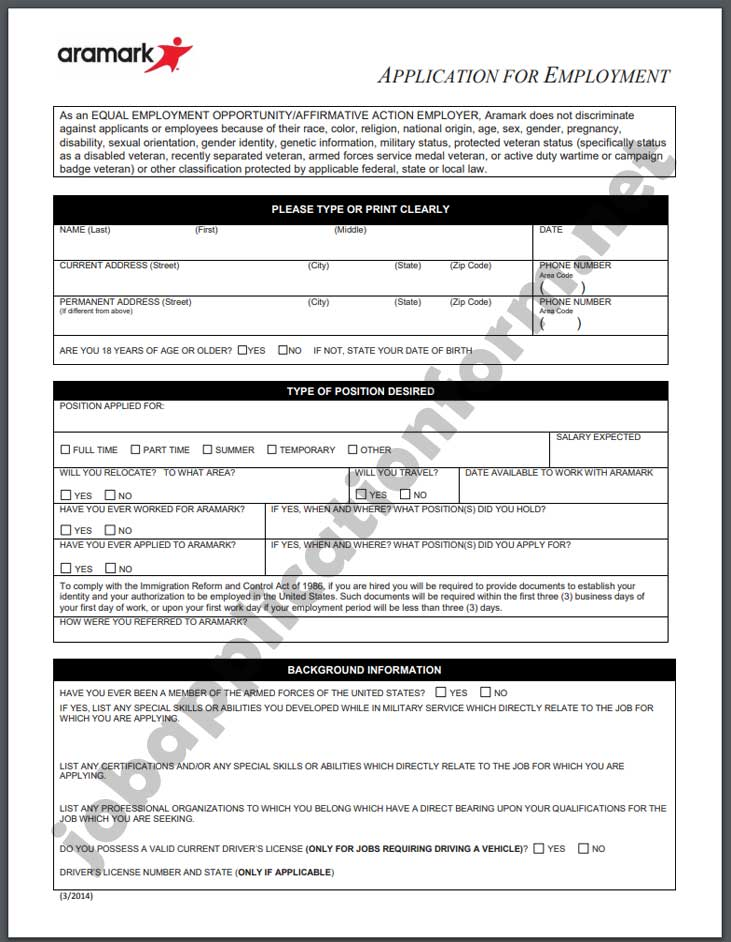 Aramark Application Form PDF