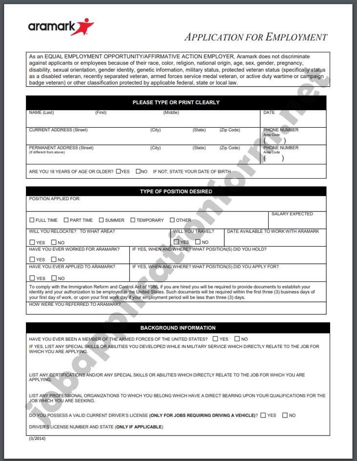 AramarkApplication Form PDF