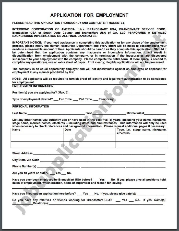 BrandsMart USAApplication Form PDF