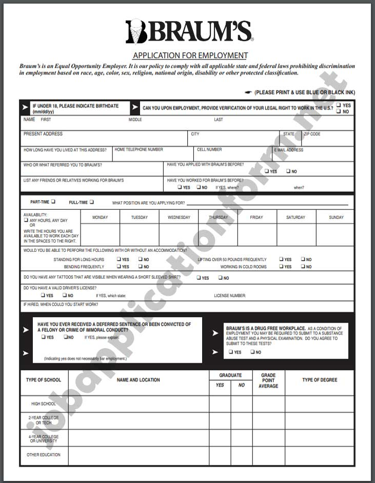 Braum's Application Form PDF