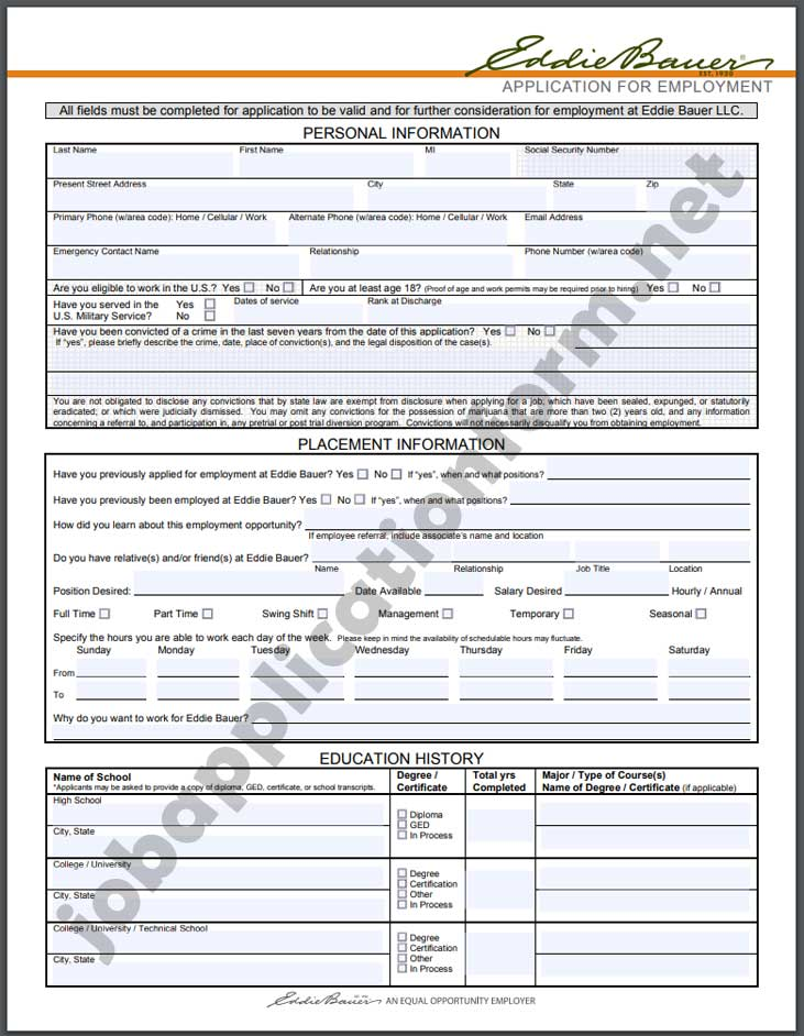 Eddie Bauer Application Form PDF