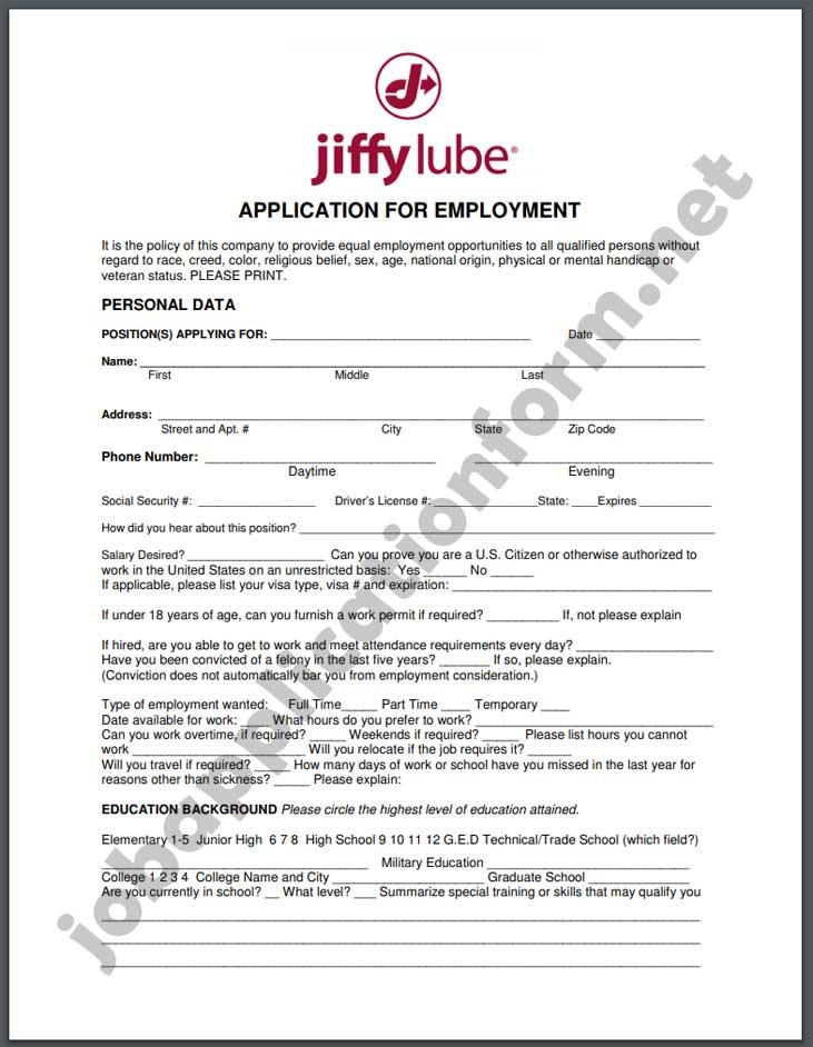 Jiffy Lube Application Form PDF