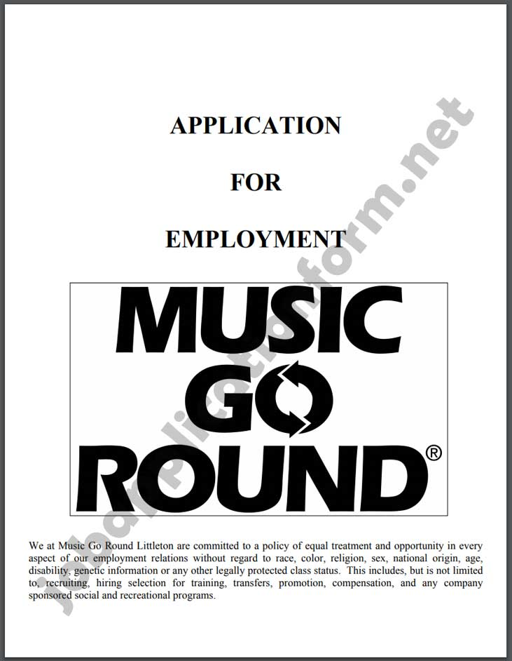 Music Go Round Application Form PDF