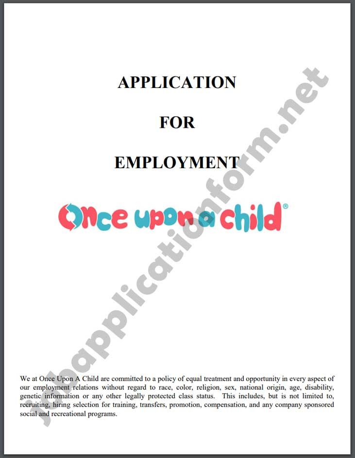 Once Upon a Child Application Form PDF