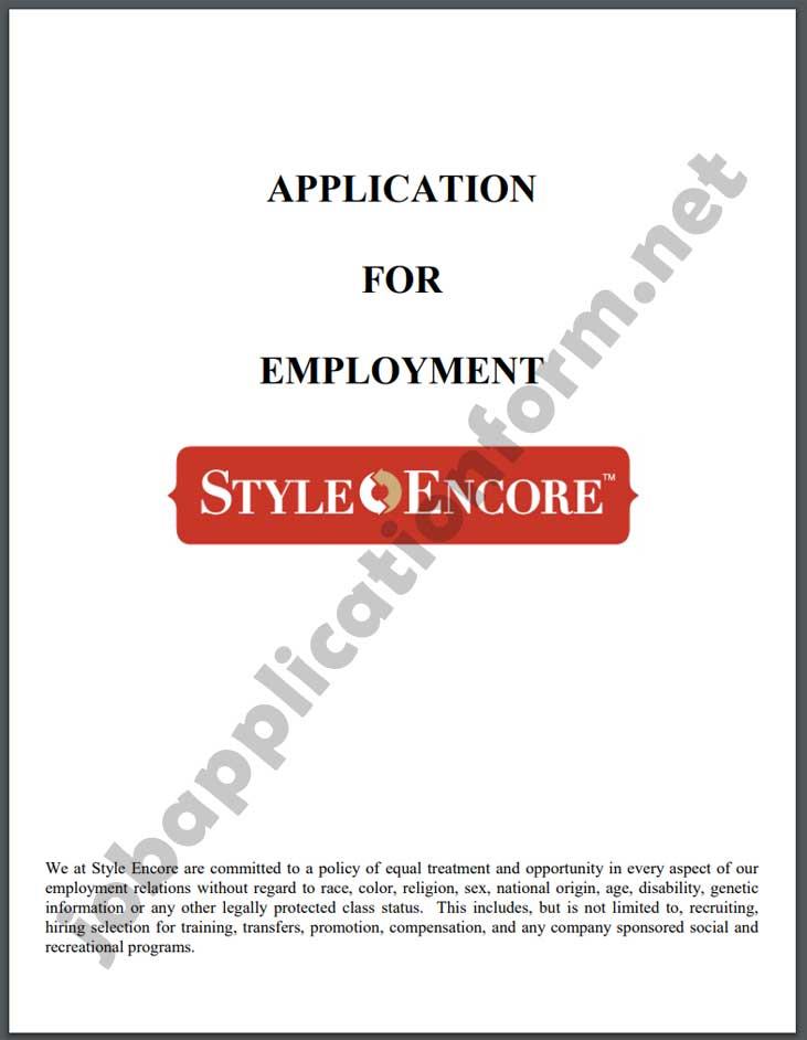 Style Encore Application Form PDF