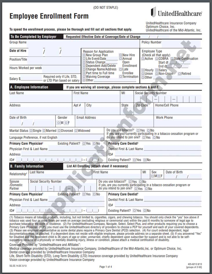 UnitedHealthcare Application Form PDF