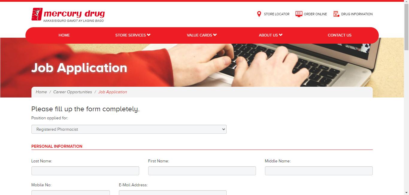 Mercury Drug Application Online & PDF