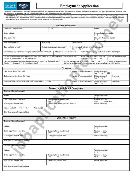 OshKosh B'gosh Application Form