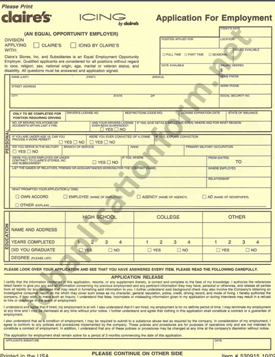 Icing Application Form